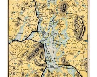 Lake Winnipesaukee - 1900 Railroad Map by Boston & Maine RR  Reprint