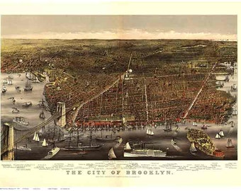 Brooklyn, New York City - 1879 Bird's Eye View by Currier & Ives - Reprint