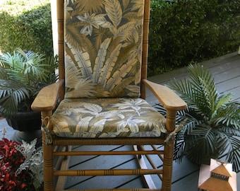 indoor outdoor rocking chair 2 pc foam cushion set fits cracker barrel rocker tommy bahama tan blue green tropical palm leaf fabric - Rocking Chair Cushion Sets