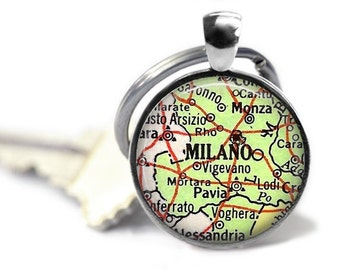 Milan Italy map key ring Milano vintage atlas keychain Italian travel gift.