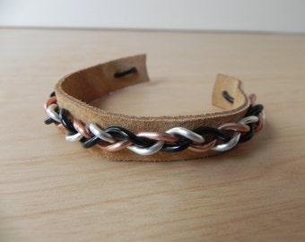 Braided Wire Bracelet (Tri Color), Wire Jewelry, Suede Bracelet