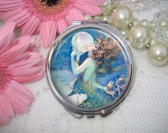 Mermaid Compact Mirror, cosmetic,handbag or purse mirror,pocket Mirror, silver tone,bridesmaid gift,birthday gift.