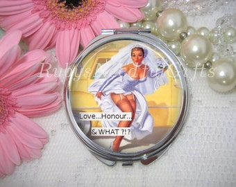 Compact Mirror with Retro Bride,cosmetic, handbag or purse mirror, pocket Mirror, Retro, brides gift, birthday gift.