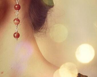 MODIGLIANI - Red agate dangling earrings, handmade