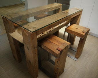 Reclaimed wood kitchen table etsy for Repurposed kitchen table