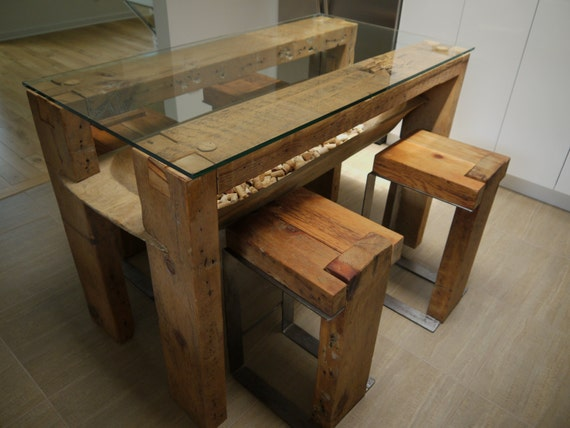 Reclaimed wood dining table glass top salvaged wood kitchen for Wood top kitchen table
