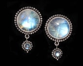 Rainbow Moonstone Clip Earrings- Handcrafted Sterling Silver