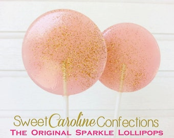Light Pink and Gold Lollipops, Wedding Lollipops, Baby Shower Lollipops, Sparkle Lollipops, Sweet Caroline Confections -Set of Six