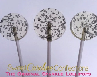 Black Hawaiian Sea Salt Lollipops, Candy Lollipops, Party Favors, Salted Caramel, Candy, Hard Candy Lollipops-Set of Six