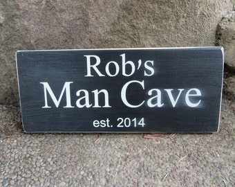 Fathers Day sign Man Cave Personalized For Him Dad Blocks Grandpa Sign