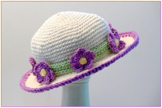 Crochet Baby Girl Sun Hat Pattern : Crochet Pattern Girls Hat Sun Hat Violet Flowers Sizes