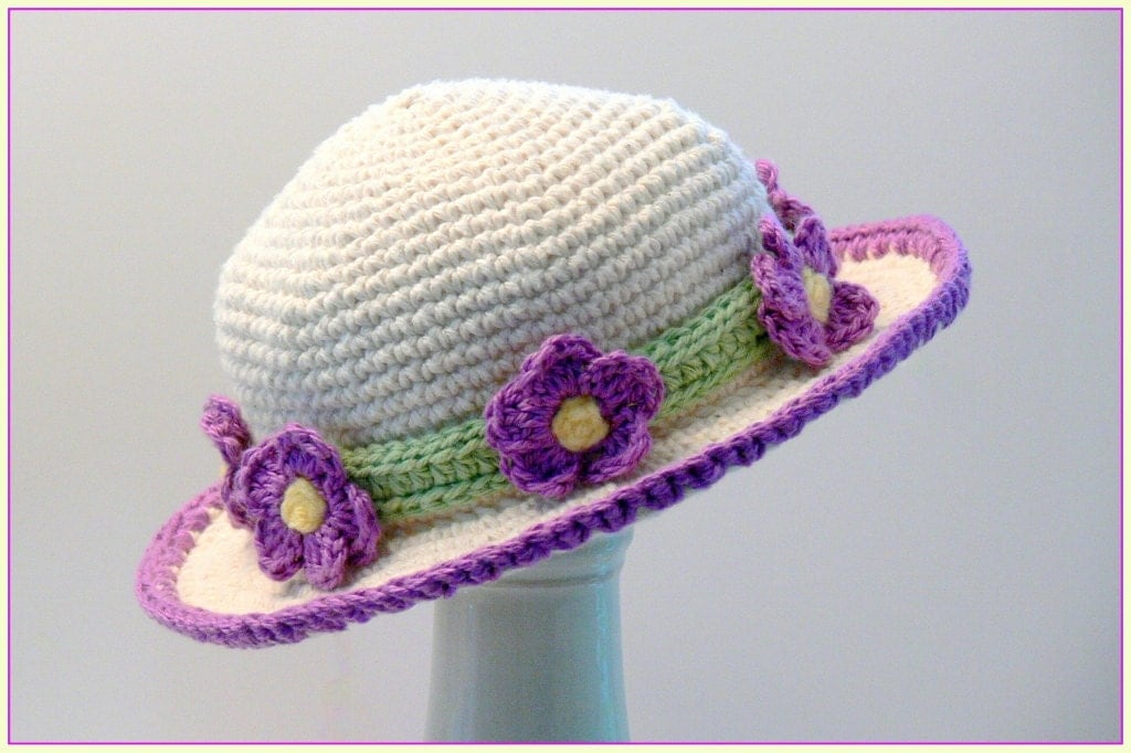 Crochet Pattern Sun Hat : Crochet Pattern Girls Hat Sun Hat Violet Flowers Sizes