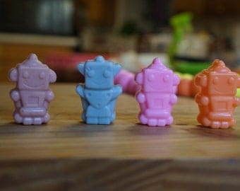 10 Robot  Soap  Party Favors (30 Little Soaps Total) With or without tags and ribbons)