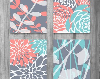 CANVAS SALE! Coral Turquoise Gray Gallery canvas art Set Modern Vintage Floral Nature Prints  Set of 4 Grey Bedroom Home Decor Large Art