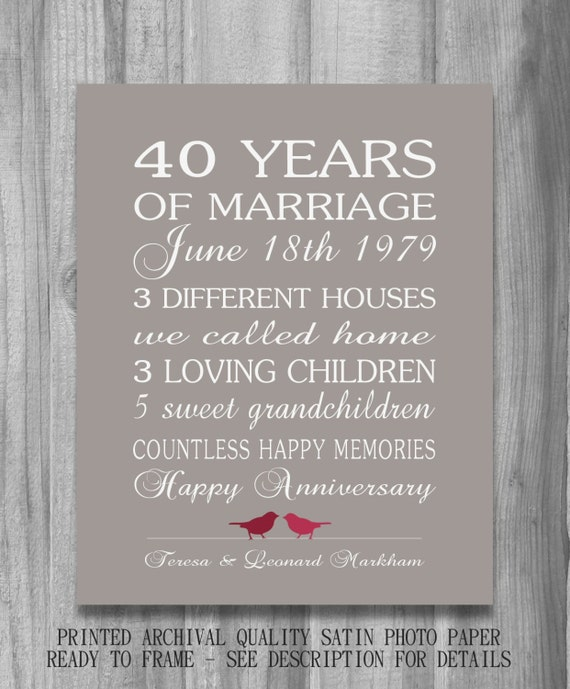Wedding Anniversary Gifts For Parents 40 Years : 4Oth Wedding Anniversary Gift RUBY Personalized Birds CUSTOM Love ...