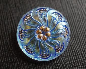 Hand Made Art Czech Glass Buttons Blue Crystal AB - Gold, size 12, 28mm, 1pc (BUT001/12)
