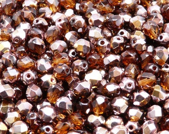 50pcs Czech Fire-Polished Faceted Glass  Beads Round 6 mm Dark Topaz Capri Gold (6FP032)