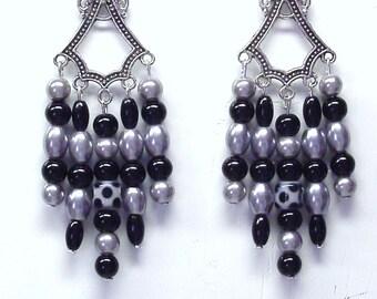 Handmade Beaded Chandelier Earrings in Black and Silver