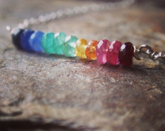 Sterling silver necklace with multicolour rainbow precious stones - sapphire necklace with ruby and emerald, rainbow necklace
