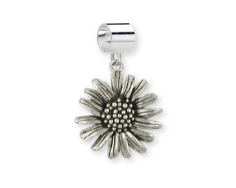 Solid Sterling Silver Daisy Flower Charm Slide Jewelry  DY4-PNS