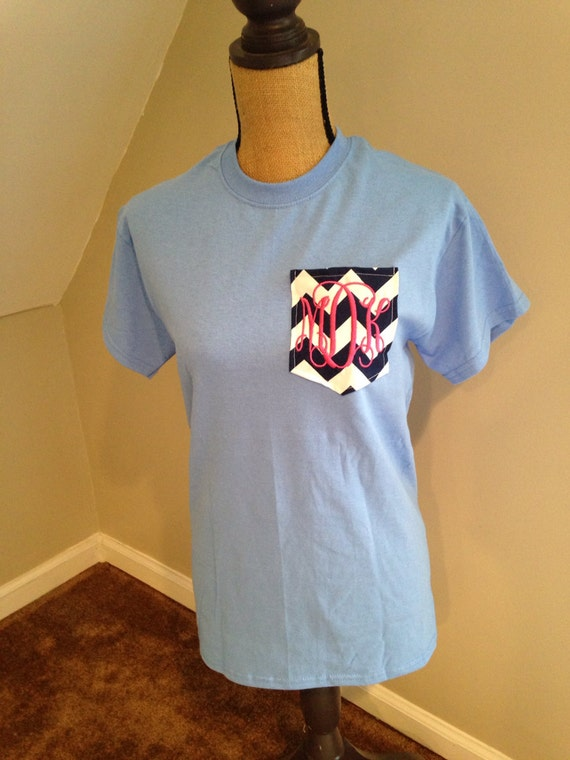 Short Sleeved Personalized Monogrammed Chevron By