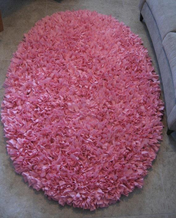Sale Large Oval Shag Rag Rug Shabby Boho Rag Rug Pink Shag