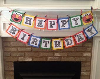 Custom Elmo Sesame Street Birthday Banner