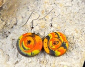 Polymer Clay Mokume Gane Style Earrings, Black, Orange and Yellow, Hypoallergenic Hooks and Accent Beads