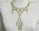 60s 70s Textured Segmented Dangling Statement Necklace Circles Hammered