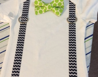 Onesie with lime green polkadot bow tie.