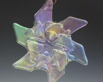 FLURRY Clear Iridized Snowflake, Fused Glass Ornament Suncatcher