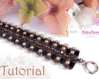 Tutorial for beadwoven tila bead bracelet 'Sweet Seduction' - PDF beading pattern - DIY