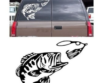 Bass Fishing Decal Sticker Wall Or Car Fish Spinnerbait Crappie Catfish Multiple Sizes