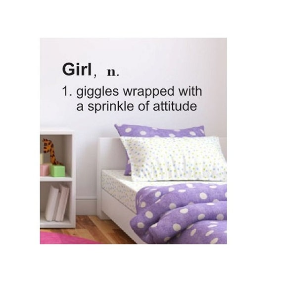 Girl Definition Vinyl Wall Decal Sticker Large Pink Kids