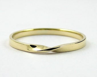 Gold Mobius Ring, Infinity Ring, Hallmarked Solid Gold Ring, Twisted Band, Gold Wedding Ring, Promise Ring, Modern Ring, 9k Gold Ring