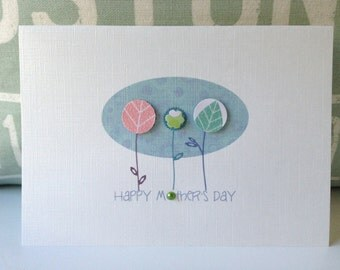Happy Mothers Day Card. Greeting mothers day  card. Handmade mothers day cards. Flowers Card
