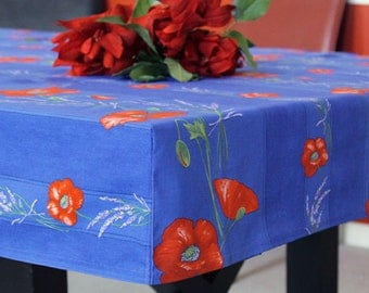 FITTED Square or Small Rectangular Waterproof Provence Poppies Tablecloth  Custom made your size - Umbrella Hole available