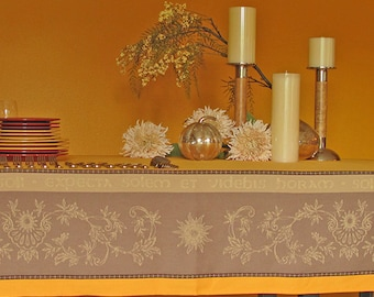 A Thanksgiving  Tablecloth :  78 or 100 inches Jacquard Tablecloth treated Teflon Carpe Diem in Gold -