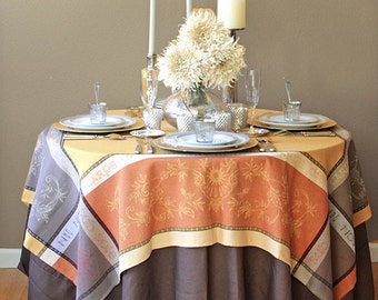 Rectangular or Square  Tablecloth - Jacquard Treated Teflon  Carpe Diem in Gold. Provence Jacquard Collection -
