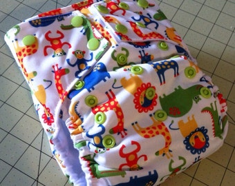 Sale! Medium One Size Pocket Diaper in Safari Pals
