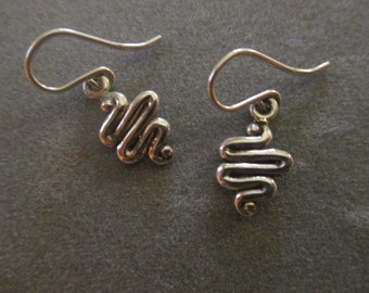 Sterling Silver Squiggle Earrings #ER96SS