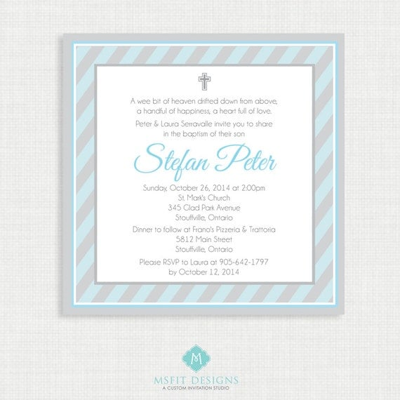 Printable Baptism Invitation- Boys Baptism Invitation - Strip Baby Invitations - Dedication, First Communion, Confirmation, Christening