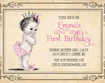 Princess Girl First Birthday Invitations -  Vintage Princess Birthday Party Invitation