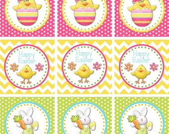 Bright Easter  Favor Tags - 2 Inch Printable Easter Cupcake Toppers