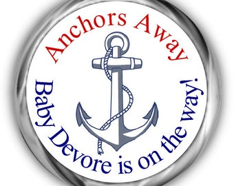 Nautical Baby Shower Hershey Kisses Stickers - Personalized Anchor Baby Shower Sticker
