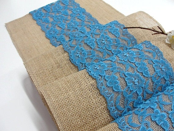 burlap table runner wedding table runner with cerulean blue. Black Bedroom Furniture Sets. Home Design Ideas