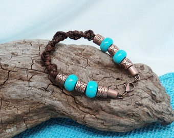 Unique Custom HorseHair Chestnut Spiral Twisted Braid Bracelet Turquoise Colored Beads Antiqued Copper Toned Beads Lobster Claw Closure