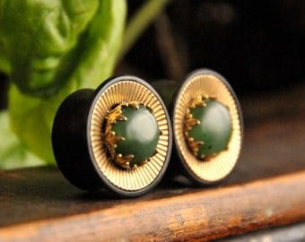 Corrugrated Brass Plugs with Nephrite Jade