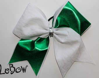 CHEER BOW Metallic Green and White lace