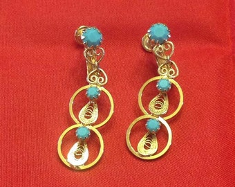 Hobe Faux Turquoise & Scrollwork Earrings, Combination Screwback/Clips